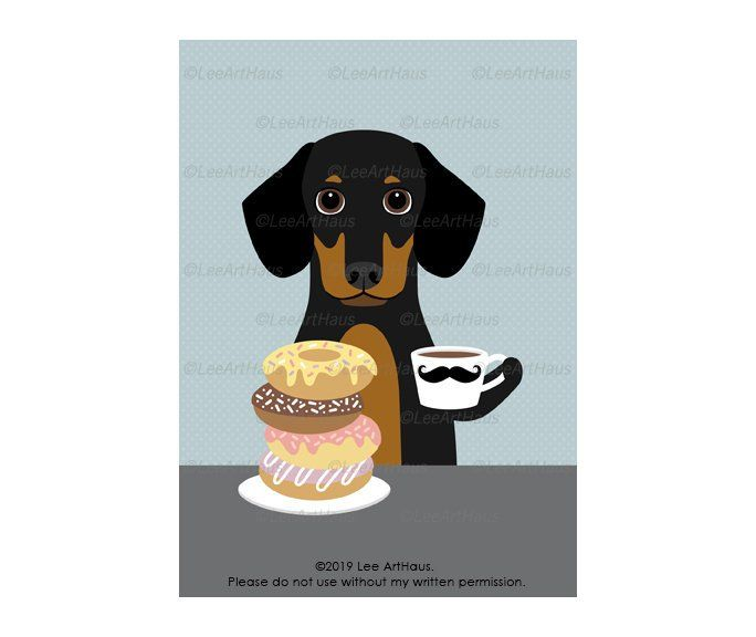 119g 5x7 Black And Tan Dachshund Eating Donuts And Drinking