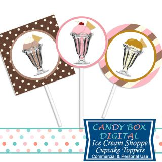 Wonderful ready-to-print retro ice cream shoppe cupcake toppers or stickers in neapolitan colors. Great for DIY decorations at your ice cream party.