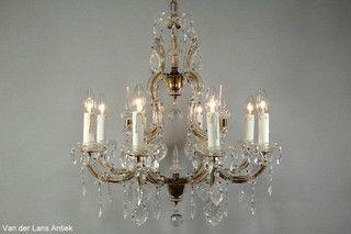 Kristallen Maria Theresia kroonluchter 26610 bij Van der Lans Antiek. Meer kristallen lampen op www.lansantiek.com