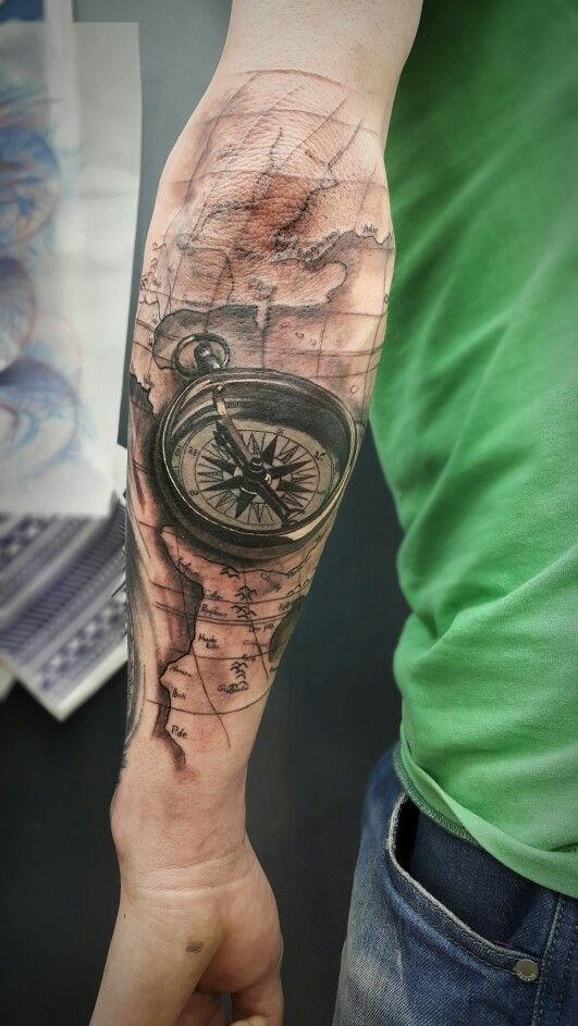 Compass tattoo byskaros my tattoos pinterest for 1 4 sleeve tattoo
