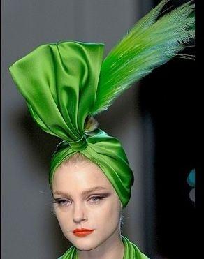 Jean Paul Gaultier, Haute Couture Spring/Summer 2010. - Satin Vert et Plume #millinery #turban #judithm