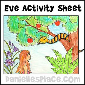 Adam and Eve Color and Activity Sheet with moveable snake Bible Craft from www.daniellesplace.com for Children's Sunday School