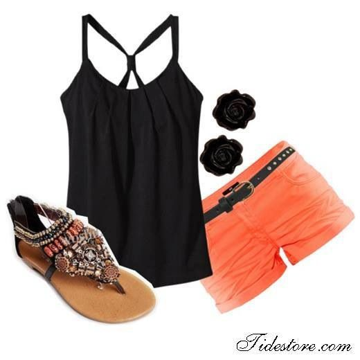 Coral and black summer outfit. Black rose earrings, cute sandals, black tank and aded coral shorts