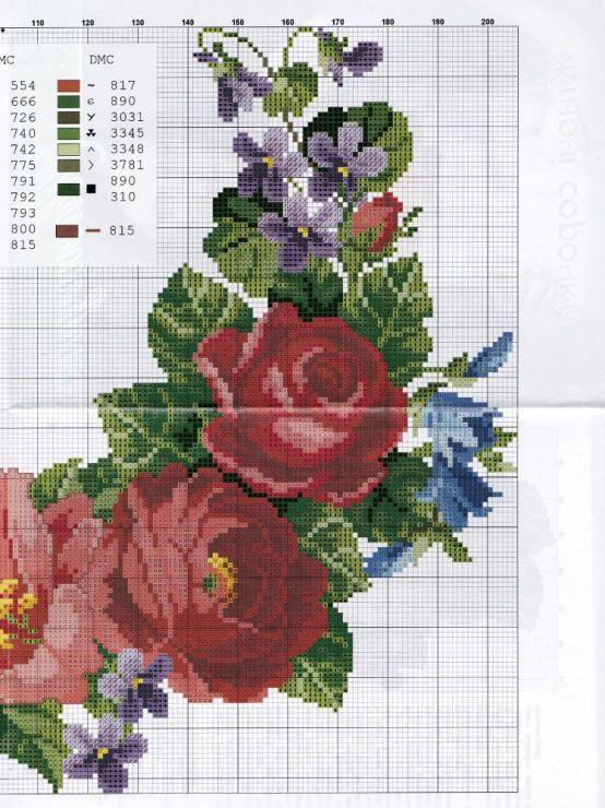 Encantos em ponto cruz flores ribbon work embroidery