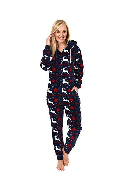 1ab56e8afa74db Damen Schlafanzug Einteiler Jumpsuit Onesie Overall langarm im coolen Look-  267 97 004, Größe