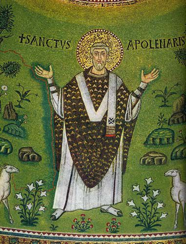 Saint of the Day – 20 July – St Apollinaris – Martyr and Bishop, Disciple of St Peter (born in Antioch, Turkey and was Martyred by being stabbed with a sword c 79 at Ravenna, Italy).   His relics are at the Benedictine abbey of Classe, Ravenna and in Saint Lambert's church, Düsseldorf, Germany.   Patronage – epilepsy; gout, archdiocese of Ravenna-Cervia, Italy and 6 cities.  Attributes – bishop healing a boy's eyes, sword....