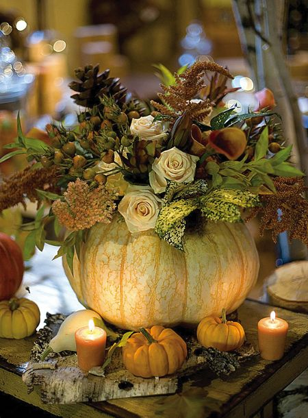 Pumpkin centerpiece. Very dainty and elegant, perfect for a small dinner or cocktail party.