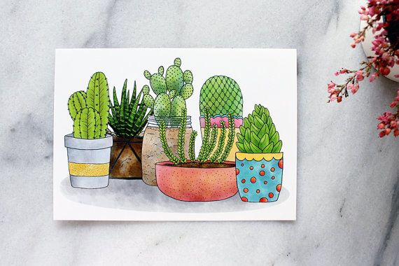 Succulents & Cacti Postcards  set of 4 by whimsymilieu on Etsy, $10.00