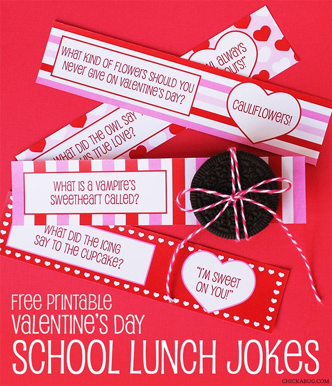 FREE printable Valentine's Day school lunch jokes from Chickabug!