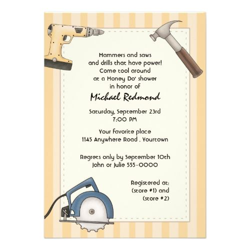 Handyman tool shower invitation power tools flats and for Man wedding shower invitations