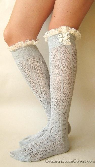 lace boot socks beautiful duck egg blue