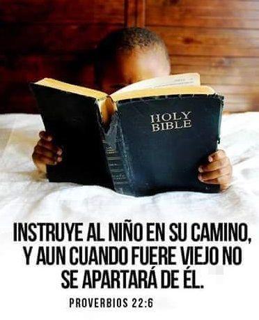 Instruye al niño en su camino,  Y aun cuando fuere viejo no se apartará de él... Proverbios 22:6