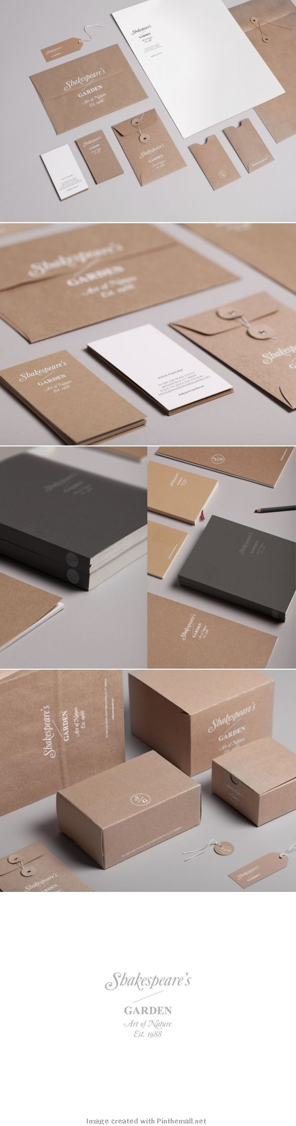 Shakespeare's garden art of nature logo corporate branding visual graphic identity kraft paper design business card label packaging box white print