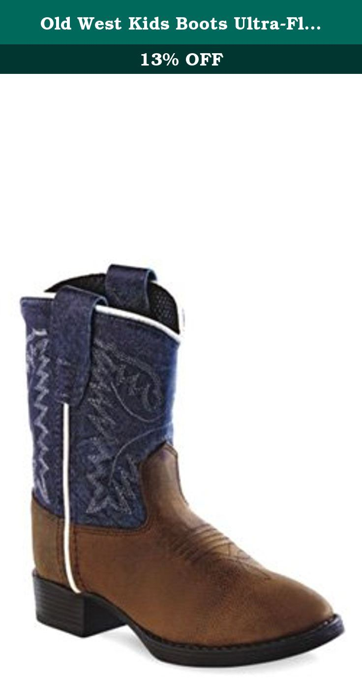 Old West Kids Boots Ultra-Flex Western Boot (Toddler) (Brown Oily Foot/Snuffed Blue Shaft) Cowboy Boots. These stylish boys blue leather cowboy boots from Old West feature a round toe, hand corded medallion, and flexible tpr sole. Constructed from high quality leather and man-made materials, these boots are durable enough for everyday wear. Your little cowboy will love toying around in these western style boots.