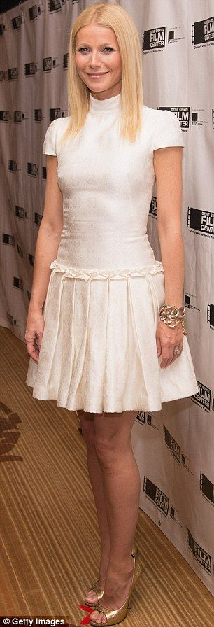 Slender: The actress's already slender pins were further accentuated by a pair of gold peep toe heels