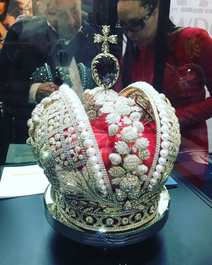 A replica of the Russian Imperial Crown exhibited at the 2017 Antwerp Diamond Fair. Set with over 1200 diamonds, a snip at $20 million.