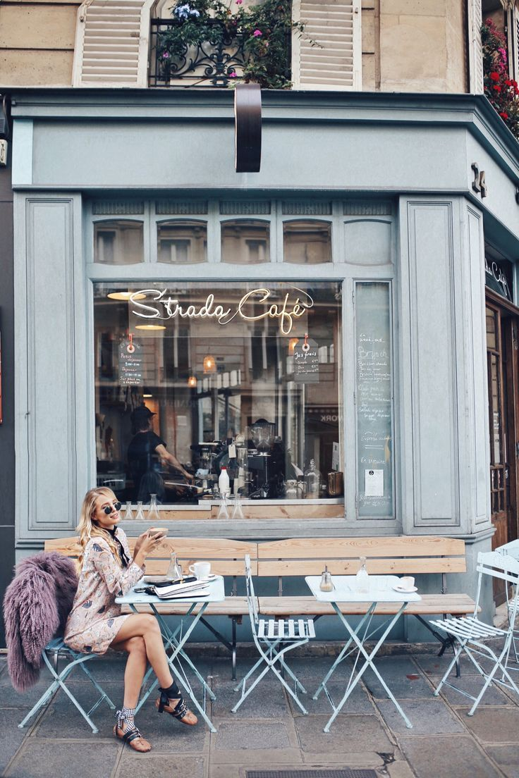 Strada Café | Paris #blue #cafe #paris #frenchcaf…