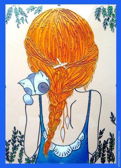 """Люди, ручной работы. Ярмарка Мастеров - ручная работа. Купить картина на стекле """"Девушка с котенком"""". Handmade. Рыжий, Витражная роспись"""