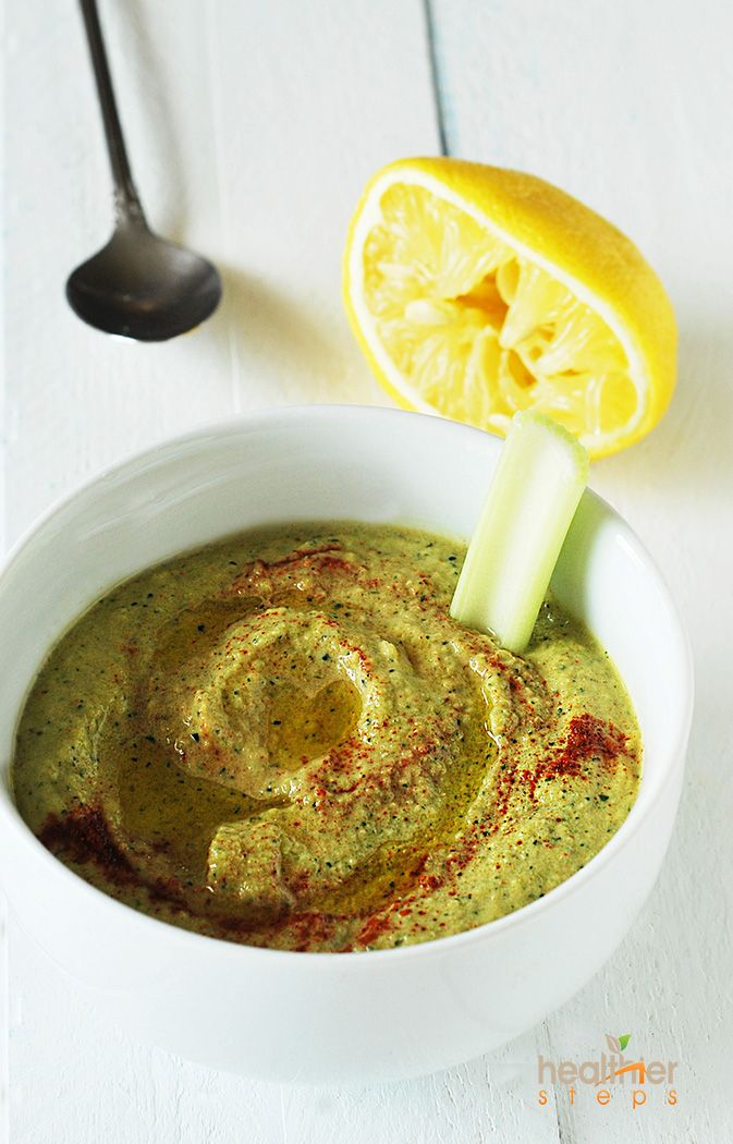Zucchini Hummus: 1 medium zucchini, chopped; 2 tablespoons tahini paste; 2 tablespoons extra-virgin olive oil; 1 tablespoon lemon juice; 2 cloves garlic; 1/2 teaspoon ground cumin; 1/4 teaspoon cayenne pepper (optional); 1/2 teaspoon sea salt | Place zucchini, tahini, olive oil, lemon juice, garlic, cumin, pepper and salt in food process and process until very smooth. Delicious served with your favorite veggies.
