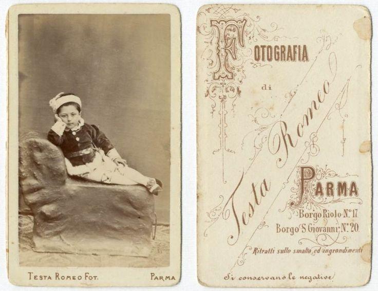 BIMBO CDV 847 Foto F.Gabinetto.Carte da Visite.Albumina.Moda.Testa Romeo Parma