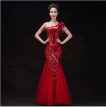 2016 fashion red one hombro lentejuelas vestido de noche largo mujeres vestidos de partido del cordón vestido de boda chino cheongsam qipao ls009(China (Mainland))