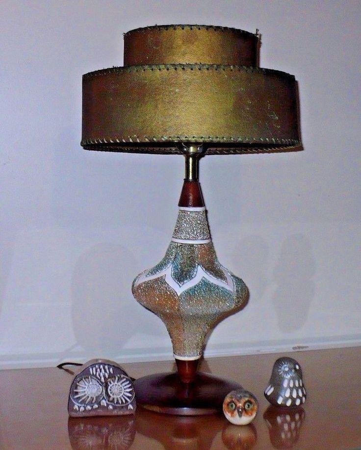 Vintage mid century modern teak wood 2 tier fiberglass shade lamp atomic