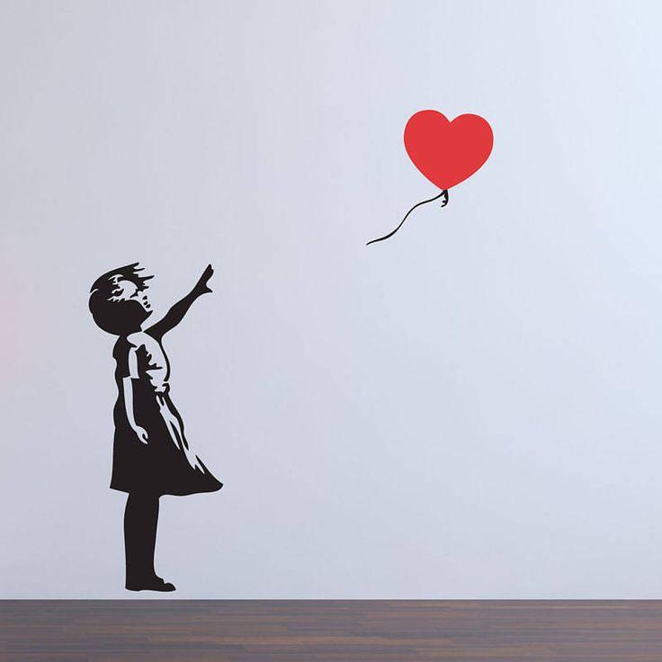balloon girl banksy wall sticker by parkins interiors   notonthehighstreet.com