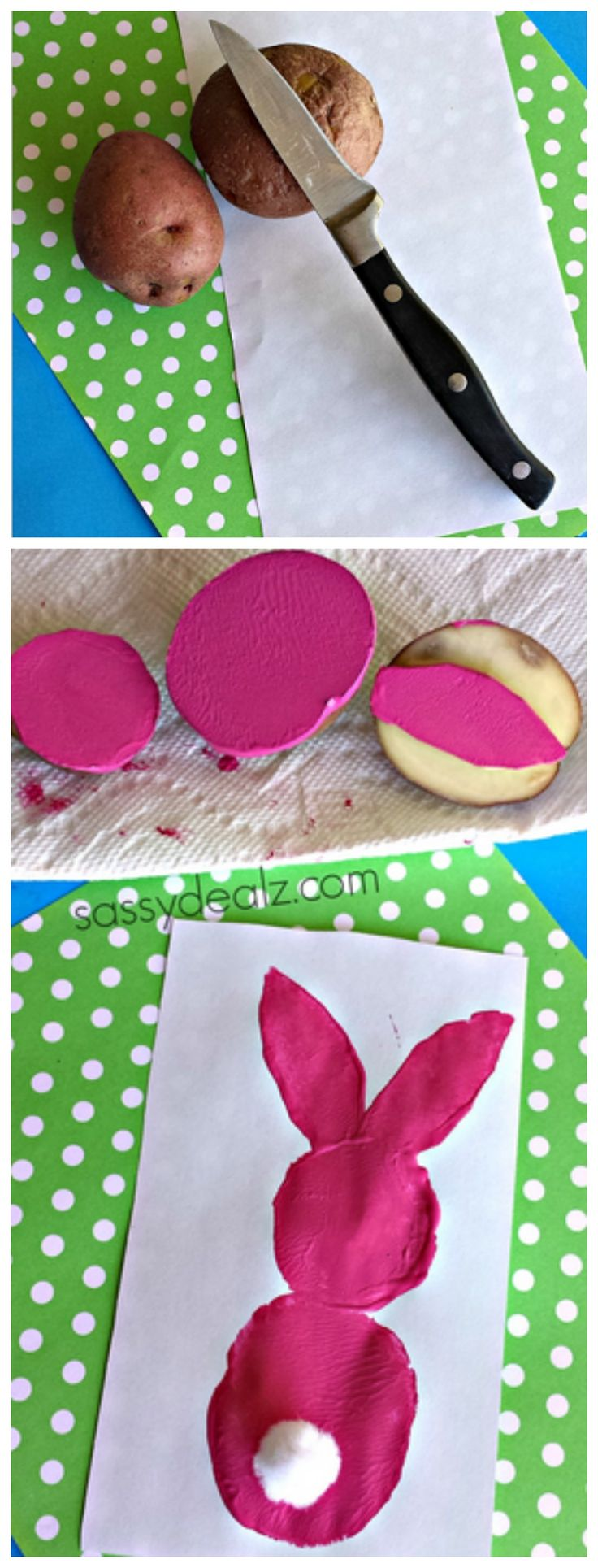 Make a bunny craft for Easter using old potatoes! #Kidscraft #Easter craft for kids | http://www.sassydealz.com/2014/04/use-potato-make-bunny-stamp-kids-craft.html
