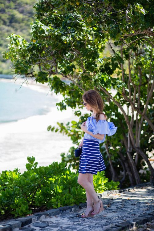 OUTFIT: J.MCLAUGHLIN STRIPED SKIRT