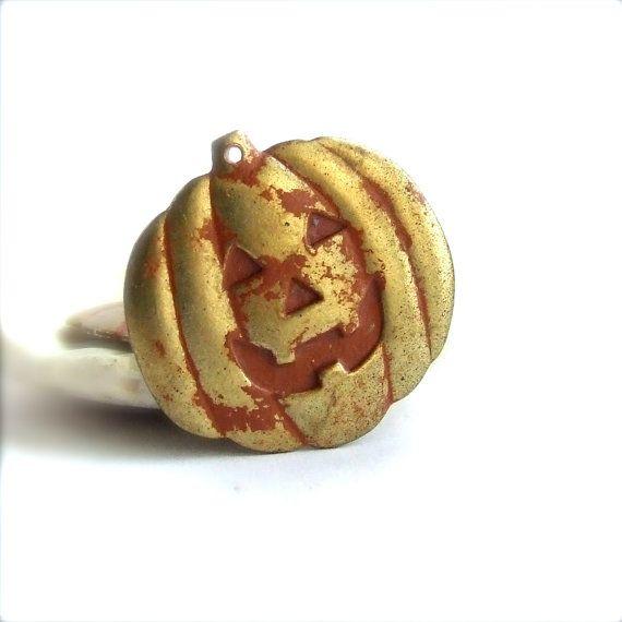Orange Rust Patina Brass Pumpkin Jackolantern by balanceddestash