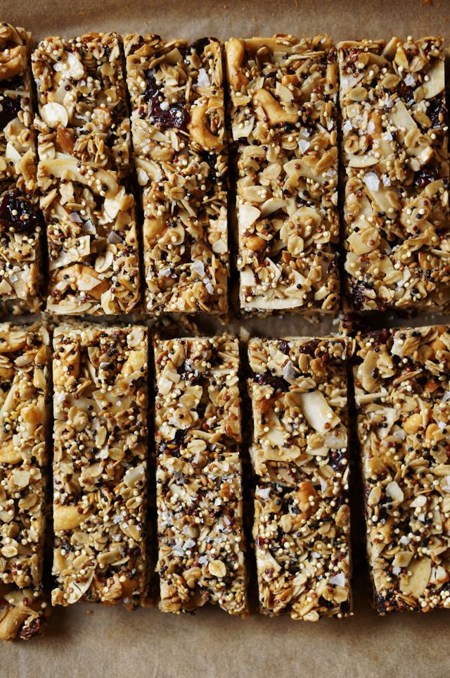 I love granola bars, but I always have a problem with the store-bought kind: if I like the dried fruit, I don't like the nuts and vis versa. Customizing your own granola bars is easy. I've included every nut and fruit I love, including some new additions like flax seed and toasted quinoa for that