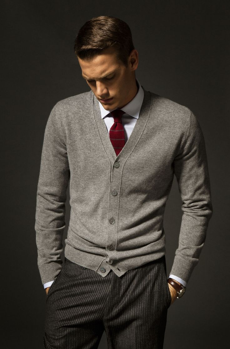 Gray wool cardigan, wool pinstripe trousers, white shirt, burgundy silk necktie.Gentlemen Style. Men's Fashion