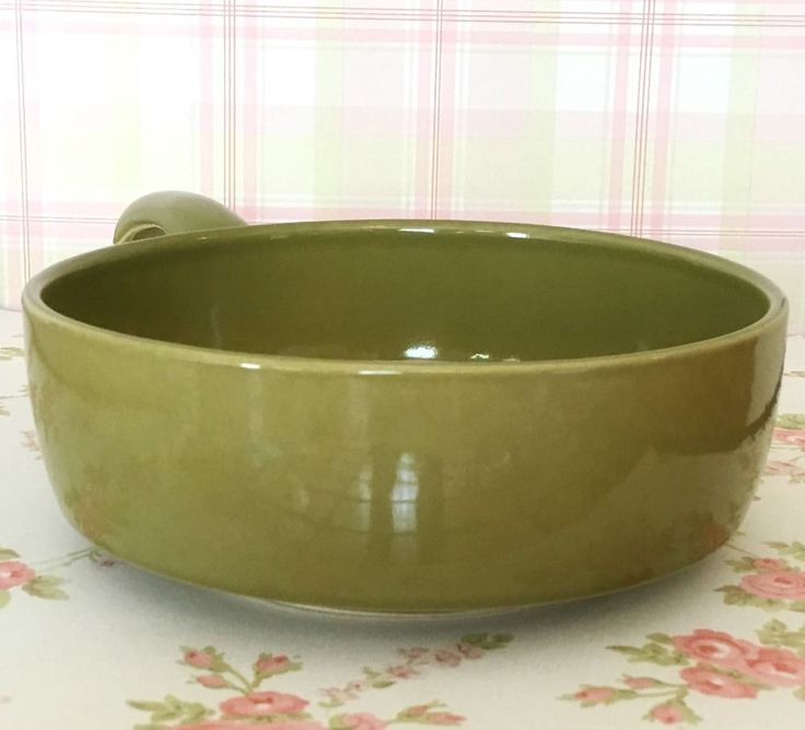 """Vintage Eclectic Beautifully Glazed Olive Green Ceramic Skillet  """"USA"""" Incised"""