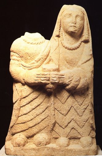 Two women holding an offering,  Montealegre del Castillo, Albacete. 400-100 BCE.