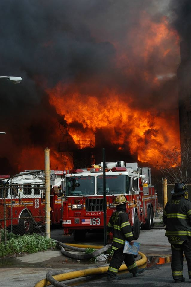 FDNY firefighters operate at a 10-alarm fire in Brooklyn. May 2006.  Photo shared from FDNY Tumblr page: http://fdny.tumblr.com/post/41971030695/fdny-