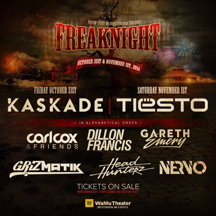 Win tickets to #FreakNight2014 ft. Kaskade, Tiësto, Dillon Francis and more! Courtesy of Dance Music Northwest and USC Events!