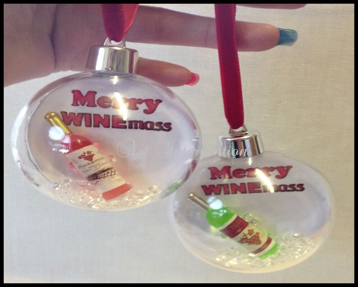'Merry Winemas' with clear diamantés.  Round clear plastic, Christmas/Xmas bauble decoration.  - Funny, humour, wine, booze. More can be found here: https://www.facebook.com/GeekCreatureCreations