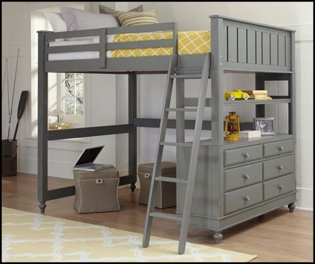 Bedroom:Full Size Loft Bed With Desk Also Shelves With Futon Chair And Underneath Plans Full Size Studio Loft Bed With Desk