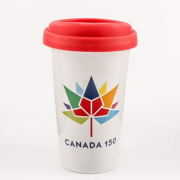 Canada 150 Ceramic Travel Mug with Lid - Celebrate Canada 150 with this ceramic travel mug with silicone lid. A white mug with red interior comes with a red silicone lid. The colourful logo makes it a great way to mark this special birthday for Canada.