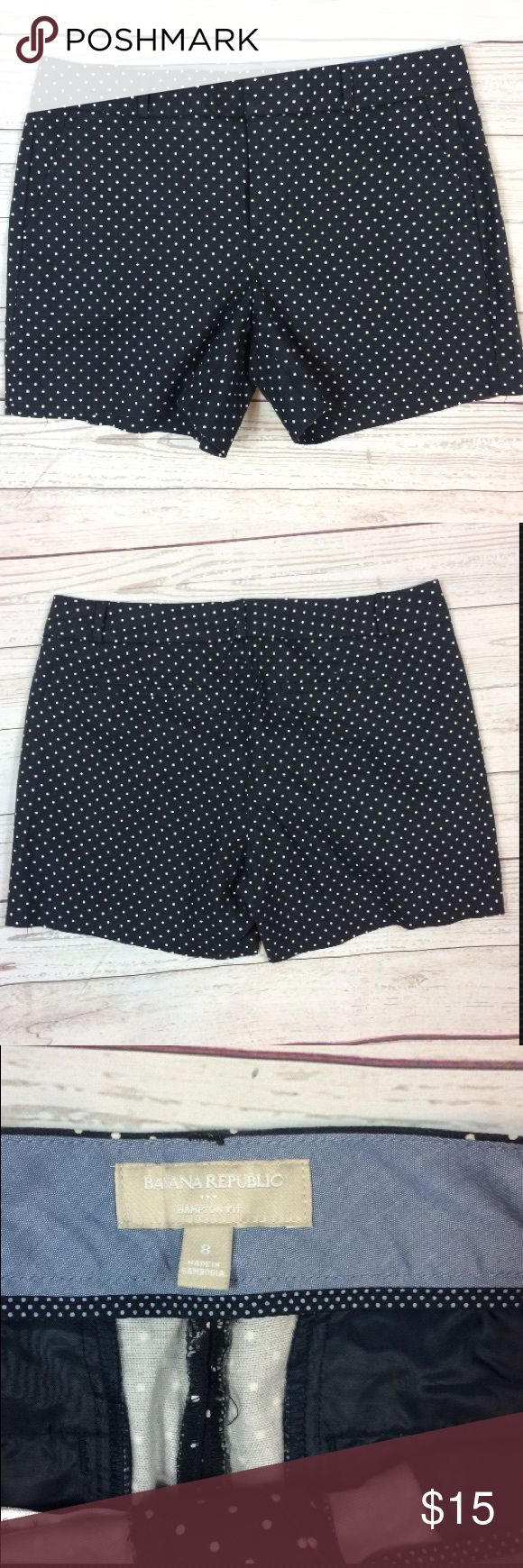 """Banana Republic Navy Blue Polka Dot Shorts 8 Banana Republic Navy Blue Polka Dot Shorts Womens Size 8 Hampton Fit  All fake products  Check out my other items for more sizes and styles!  Measurements are laying flat Waist 16"""" Length 14.5""""   Condition Description: Gently used  Inventory # H15 Banana Republic Shorts"""