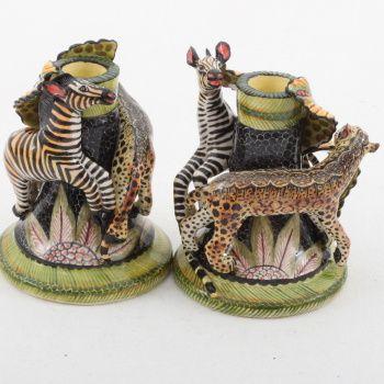 Ardmore Ceramics Leopard Zebra Candlestick Pair