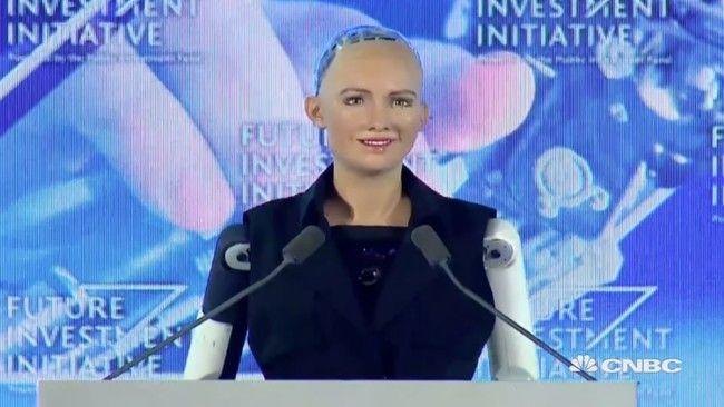 Este robot es capaz de realizar entrevista gracias a una IA que hace incluso guiños a Elon Musk