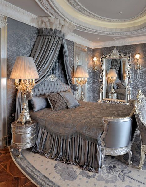 Damask walls and bedroom furnishings in shades of silver and grey