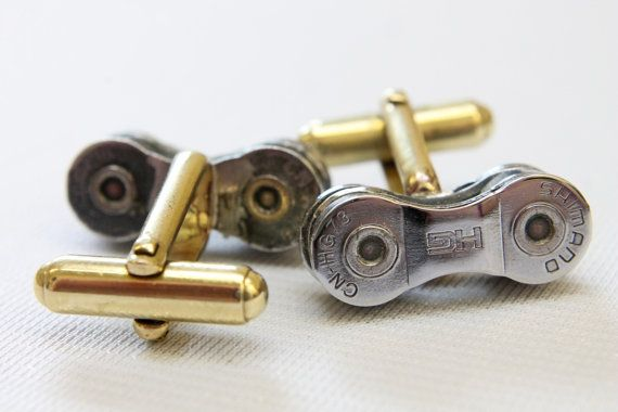 One of our most popular choice of cufflinks are the ones we make out of recycled bike chain. This unique pair is made from the Shimano Racing chain,