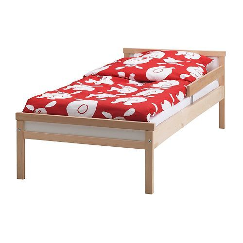 SNIGLAR Bed frame with slatted bed base, beech beech 27 1/2x63