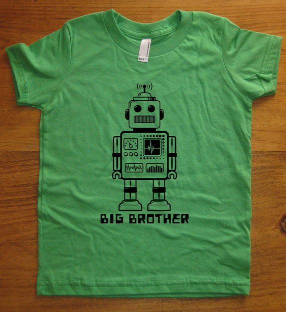 Big Brother Shirt - 6 Colors Available - Kids Big Brother Robot T shirt Sizes 2T, 4T, 6, 8, 10, 12 - Gift Friendly. $15.95, via Etsy.