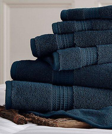 Love this Denim Spa Cotton Towel Set on #zulily! #zulilyfinds