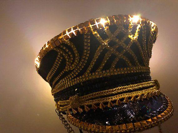 28a7088e8441c Black   Gold LED Captain s Hat (premade)  festival hat