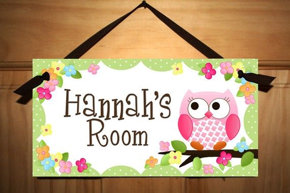 DOOR SIGN Owls Love Flowers Girls Bedroom and Baby Nursery Kids Bedroom Wall Art
