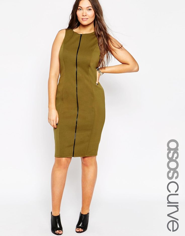 ASOS CURVE Pencil Dress with Zip Front